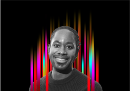 On the middle of a black background is a row of colourful vertical stripes'. In the centre is a black and white profile photo of TEDx speaker Jason Ardey superimposed on top.