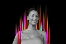 On the middle of a black background is a row of colourful vertical stripes'. In the centre is a black and white profile photo of TEDx speaker Jessica Huie superimposed on top.